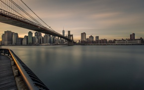 Картинка USA, United States, river, skyline, sky, bridge, water, night, New York, Manhattan, NYC, New York …