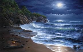 Картинка море, ночь, костер