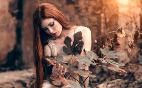 Обои рыжеволосая девушка, макияж, Golden, Alessandro Di Cicco, листья