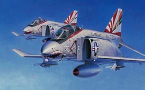 Картинка fighter, bomber, war, art, painting, aviation, jet, ww2, F-4 Phantom