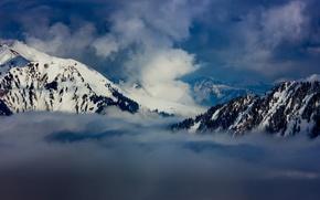 Картинка зима, снег, горы, winter, mountains, clouds, snow, train, Alps, mist, Montreux, Swiss, Rocher, Lausanne, de …