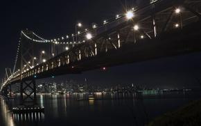 Картинка зима, ночь, мост, город, декабрь