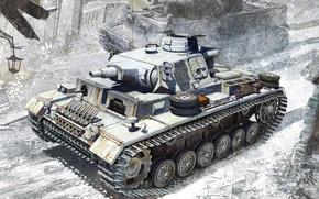 Картинка Рисунок, Ausf.N, Средний танк, Ленинград 1943, w/Winterketten, s.Pz.Abt.502, Немецкий, Pz.Kpfw.III