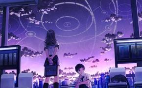 Картинка облака, город, станция, City, сумерки, japan, школьники, school