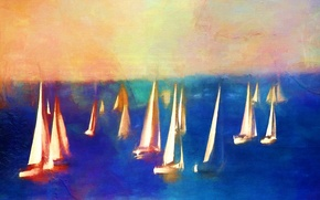 Картинка море, картина, лодки