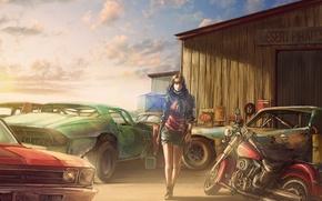 Картинка девушка, рисунок, Chevrolet, мотоцикл, свалка, амбар, art, old car, Rust graveyard, by c85