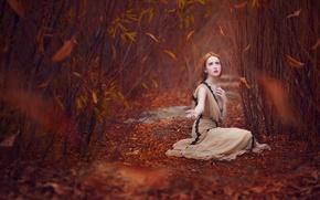 Картинка осень, листья, рыжеволосая девушка
