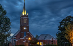 Картинка Wisconsin, тучи, церковь, деревья, вечер, Polk, фонари, небо, США