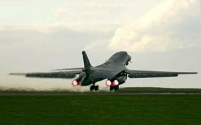 Картинка небо, облака, самолет, Lancer, бомбардировщик, взлет, B-1B