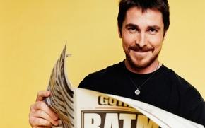 Картинка batman, газета, актер, actors, christian bale, yellow background, newspapers