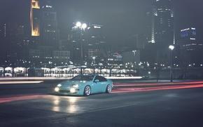 Картинка ночь, город, green, Nissan, ниссан, 300zx, fairlady