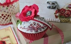Обои цветок, мак, сладость, пирожное