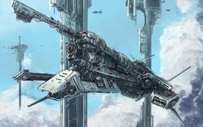 Картинка небо, облака, транспорт, корабль, высота, арт, сооружения