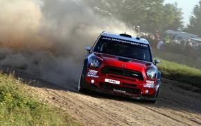 Картинка Красный, Пыль, Спорт, Занос, Mini Cooper, WRC, Ралли, MINI, Мини Купер