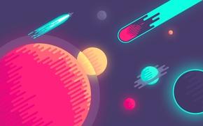 Обои минимализм, графика, планеты, круги, комета, космос