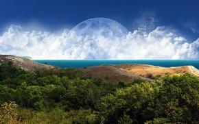 Обои небо, горы, фантазия, фантастика