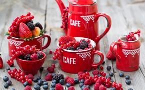 Картинка ягоды, малина, черника, клубника, посуда, красная, смородина, ежевика, Julia Khusainova