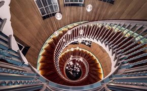 Обои lights, wood, spiral, staircase, architecture, stairs, handrail