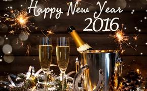 Картинка бутылка, Новый Год, бокалы, golden, шампанское, New Year, Happy, champagne, 2016