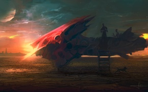 Картинка планеты, корабль, арт, лестница
