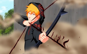 Обои wallpaper, game, bleach, anime, kurosaki ichigo, dust, boy, ichigo, bow, orange hair, arrow, hood, shinigami, ...