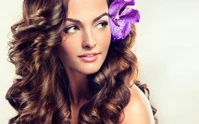 Картинка девушка, портрет, макияж, шатенка, длинные волосы, цеток