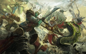 Картинка битва, dota, art, dota 2, Elder Titan, Venomancer, Legion Commander, moba, Omniknight, Wraith King, Skywrath …