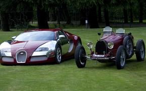 Картинка ретро, Bugatti, veyron, эволюция