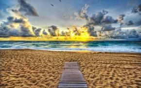 Картинка песок, пляж, восход, океан, Флорида, мостки, Florida, Палм-Бич, Palm Beach