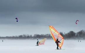Картинка зима, снег, ветер, сноубординг, Онтарио, кайт, Кесвик, сноукайтинг