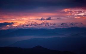 Картинка небо, свет, горы, вершины