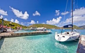 Картинка дома, яхты, причалы, Карибы, Caribbean, Bitter End Yacht Club Hotel, Яхт-клуб, Virgin islands