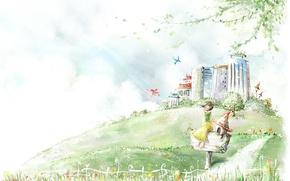 Картинка цветы, город, рисунок