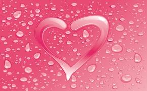 Обои капли, сердце, влюбленные, открытка, день Святого Валентина