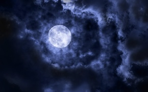 Картинка moon, clouds, satellite