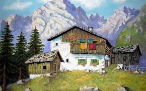 Картинка лес, трава, пейзаж, скалы, дом, рисунок, сарай, деревья, горы, склон, камни