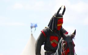 Картинка шлем, воин, доспехи, рыцарь, лошадь