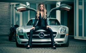 Картинка девушка, модель, Mercedes SLS, gorgeous, Heidi, exotic car, Jason Harynuk