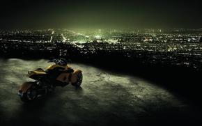 Обои мотоцикл, ночь, город