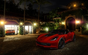 Обои chevrolet, corvette, c7, stingray, red, american, car, adv.1, wheels