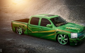 Обои chevrolet, silverado, lowrider, pick-up, doc fluty, green