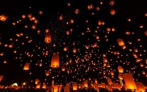 Картинка небо, ночь, огни, красные, воздушные, фонарики, огненные