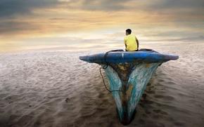 Картинка пустыня, лодка, ситуация, парень