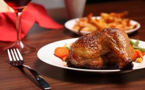 Обои еда, курица, тарелка, ножка, овощи, жареная