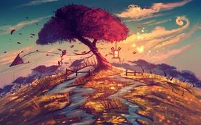 Картинка бабочки, река, фантазия, дерево, арт, воздушный змей
