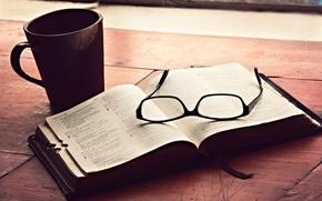 Картинка очки, чашка, книга, Библия
