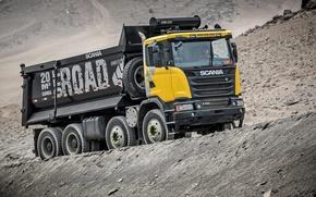 Обои грузовик, самосвал, скания, спецтехника, Scania, 8×4, G440, 2013