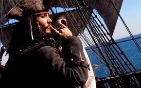 Обои Джек Воробей, Джонни Депп, Пираты Карибского моря, Johnny Depp