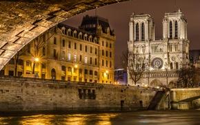 Картинка мост, город, река, Франция, Париж, вечер, освещение, Сена, Paris, Собор Парижской Богоматери, France, Notre Dame …