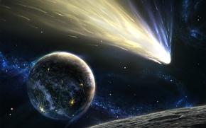 Картинка звезды, планета, комета, астероид, хвост, Space, stars, planet